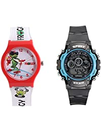 Fantasy World Red Watch And Sport Watch Combo For Boys And Girls - B0789MDDRD