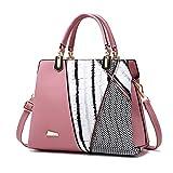 Frauen-Entwurfs-Handtasche-schwarze und weiße Streifen-Einkaufstasche-weibliche Schulter-Taschen PU-Leder-Geldbeutel DARK PINK 28X23X11cm