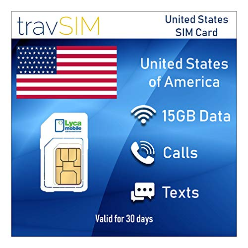travSIM Prepaid SIM-Karte USA & Puerto Rico Lycamobile 15 GB Mobile Daten - Unbegrenzte Nationale & Internationale Anrufe + SMS - 3G 4G LTE 30 Tage Standard Micro Nano