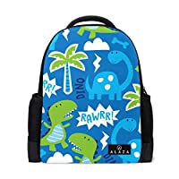 MyDaily Cute Dinosaur Doodle Backpack 14 Inch Laptop Daypack Bookbag for Travel College School