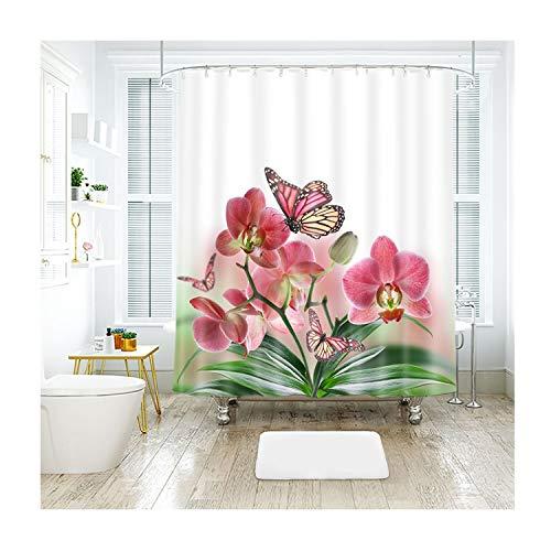 MaxAst Schmetterling Blume Duschvorhang Anti Schimmel, Bunten Badewanne Vorhang 180x200CM, Antibakteriell Wasserdicht mit Kunststoff Ringe Kein Rost