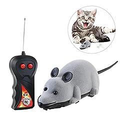 Idea Regalo - Rosenice - Topolino giocattolo con telecomando, ideale per far divertire i gatti simulando un vero roditore, in peluche e schiuma, gioco da inseguire, di colore grigio