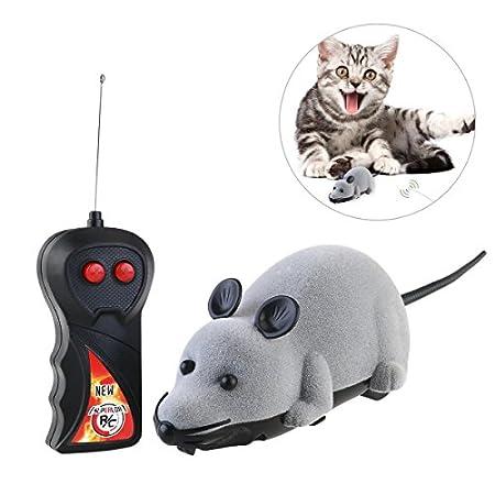 Rosenice Katzenspielzeug mit Fernbedienung, Maus, für Katze, Spielzeug, Plüschmaus, Spielzeug zum Jagen (Grau)¡