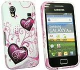 Kit Me Out IT - Samsung Galaxy Ace S5830 Android Protezione Custodia / Cover / Skin Gel TPU Porpora Cuori + LCD Pellicola Protettiva Schermo