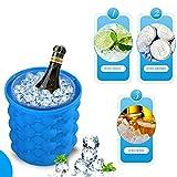 Ice Genie Cube Maker, aliyao Silikon Formen Eiseimer ICE Eiseimer aus Silikon mit doppeltem Verwendungszweck für Whisky, Cocktail und jede Getränk, blau, M