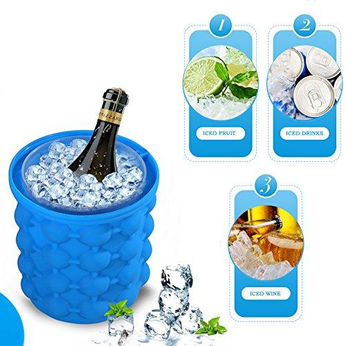 Ice Genie Cube Maker, aliyao Silikon Formen Eiseimer ICE Eiseimer aus Silikon mit doppeltem Verwendungszweck für Whisky, Cocktail und jede Getränk, blau, M (Kleinen Hersteller Die Waren)
