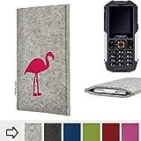 flat.design für Cyrus cm 7 Handy Schutzhülle Faro mit Flamingo - Schutz Case Made in Germany in Hellgrau Pink Handgefertigte Smartphone-Tasche Etui aus Filz für Cyrus cm 7