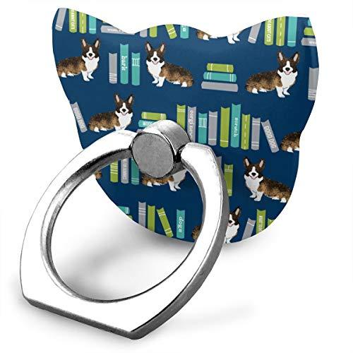 magic ship Corgi Library Dog Brindle Corgi Design Cute Dogs Navy Ring Stand 360°Rotation Thin Universal Phone Ring Holder Transparent Finger Ring Tablets cat Shape Land Pot Holder