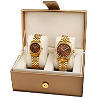 August Steiner His and Her Gold Dial Casual Watch Set - AS8201YG
