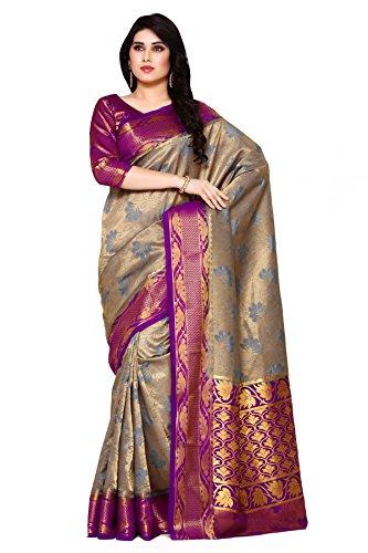Mimosa By Kupinda Women\'s Art Silk Saree Kanjivaram Style (Latest Designer Sarees /Party wear sarees /New collection sarees) Color:Blue (4120-2152-2D-GREY-MEJ)