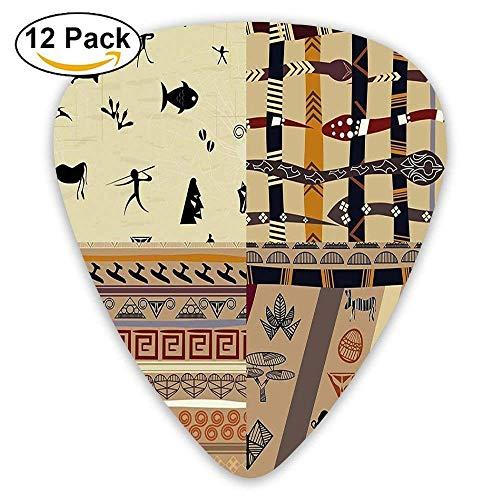Einheimische Jagdtiere in der Wildnis Elefant Zebra Fisch Schlange Stammes-Maske Muster Plektren 12 Pack Für E-Gitarre, Akustikgitarre, Mandoline und Bass