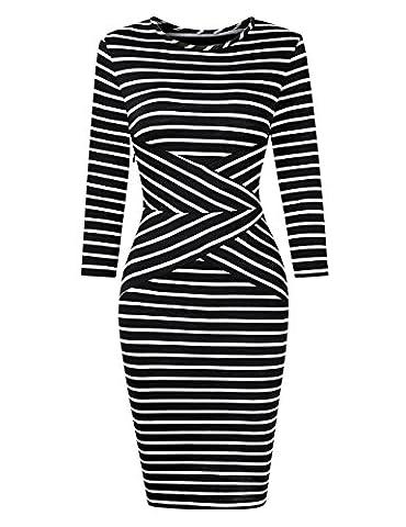 KoJooin Damen Elegant Gestreiftes Kleid Jerseykleid Figurbetontes Streifenkleid Etuikleid Knielang Langarm Weiß und Schwarz