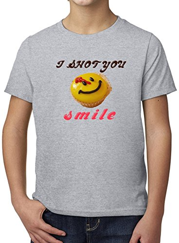 I Shot You, Smile Ultimate Youth Fashion T-Shirt by Benito Clothing - 100% Organic, Hypoallergenic Cotton- Casual Wear- Unisex Design - Soft Material 9-11 years (Shot Youth T-shirt)