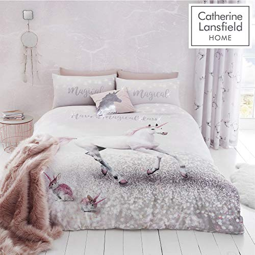 Catherine Lansfield Enchanted Unicorn Easy Care Double Duvet Set Pink Best Price and Cheapest
