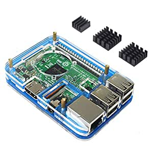 Clearain pour Raspberry Pi 3 boitier avec Dissipateur 3 pièces, Compatible avec Raspberry Pi 3 Case per 3b 2 Model b (5 Couches Bleues)