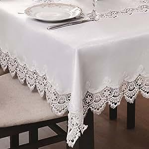 140x240 Oval creme Tischdecke Gipüre fleckenabweisend Lotus Effekt elegant praktisch außergewöhnlich klassisch