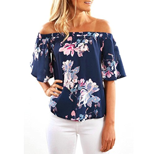 Damen Sommer Tops FORH Frauen Sexy Schulterfrei Kurzarm T-Shirt Mode Elegant Blumen Bedruckte Bluse Tank Tops Casual Langarmshirts hemd Oberteile Crop tops (Marine, XL)