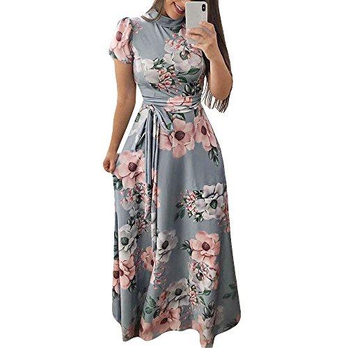 Elegante kleider Damen Kleid Cocktailkleider Ronamick Womens Short Sleeve Flower Print Minikleid Mode Sexy Kleid(XL, Grau)