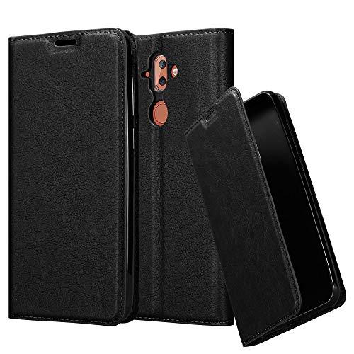 Cadorabo Hülle für Nokia 8 Sirocco - Hülle in Nacht SCHWARZ – Handyhülle mit Magnetverschluss, Standfunktion und Kartenfach - Case Cover Schutzhülle Etui Tasche Book Klapp Style