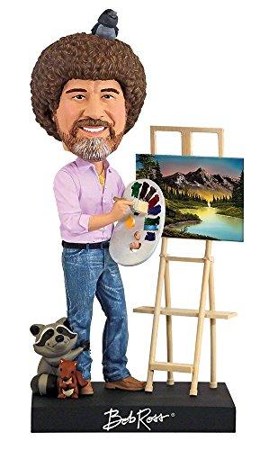 Royal Bobbles - Wackelkopffigur Bob Ross - mit Abnehmbarer Staffelei & Einer Auswahl aus 5 Gemälden