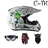 C-TK Motocross Casco D. O. T Certificazione Endurance Race ATV Casco, Elementi di Design di Moda,M(54~55) CM