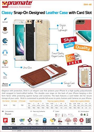 Promate Slit-i6Classy Design Housse en cuir avec emplacements pour cartes pour iPhone 6/6s–Rouge marron
