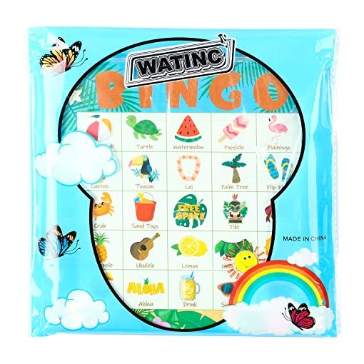 WATINC-41Pcs-Hawaii-Bingo-Spiel-Set-Kleinkinder-Familie-Strand-Game-Sommer-Indoor-Outdoor-Kindergeburtstag-Games-Party-Favors-Supplies-24-Spieler-Bingo-Karten-fr-Kinder-Erwachsene