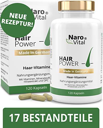 Haar-Vitamine - Für Haare, Haut und Nägel - 120 vegane Kapseln (2 Monate) - Mit 5 mg Biotin, Zink, Selen, Hirse-Extrakt, OPC & Mehr - gesunder Haarwuchs & Bartwuchs