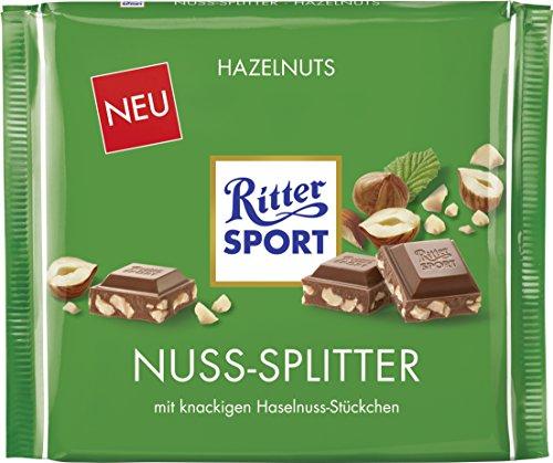 Preisvergleich Produktbild RITTER SPORT 250g Nuss-Splitter (11 x 250 g),  Vollmilchschokolade mit Nuss-Stückchen,  gehackte Haselnüsse in köstlicher Schokolade,  nussige Großtafel