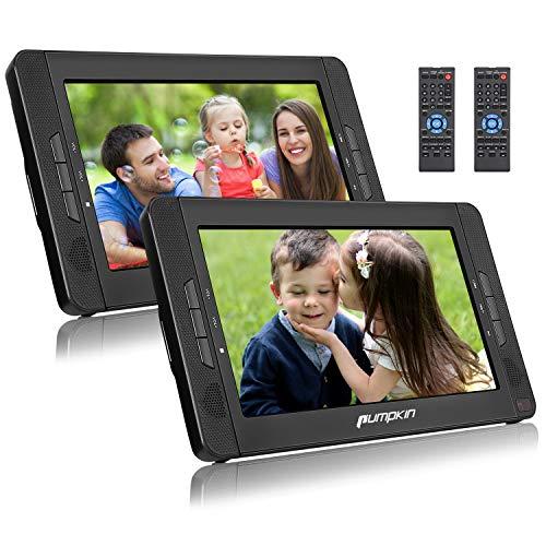 Pumpkin Double Ecrans d'Appuie-tête Lecteur DVD Portable Voiture 10,1 Pouce (2 Lecteurs DVD) Autonomie de 5 Heures supporte USB SD MMC avec Etui de Montage