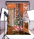 YongFoto 1,5x2,2m Vinyl Foto Hintergrund Weihnachten Baum Geschenke Ledersofa Brick Wall Fotografie Hintergrund für Fotoshooting Portraitfotos Party Kinder Hochzeit Fotostudio Requisiten