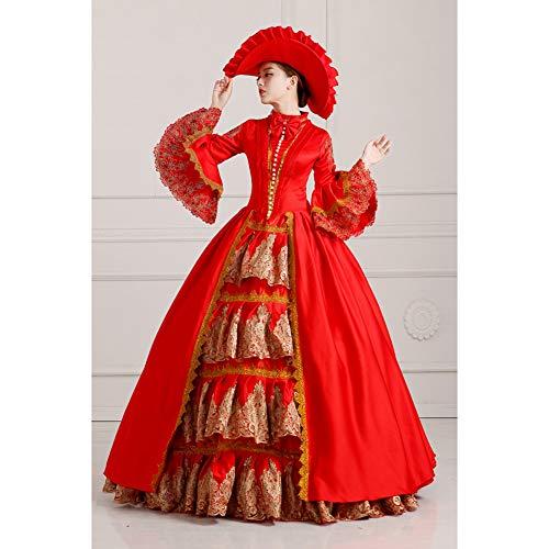 QAQBDBCKL Red Stickerei-Ballkleid Aufflackern Hülse Ballkleid Mit Hut Mittelalterlichen Kleid Renaissance-Kleid-Prinzessin Kostüm/Viktorianischen/Belle Ball -