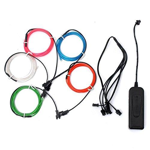 Cikuso 5x 1m EL Wire EL Kabel Neon Beleuchtung leuchtschnur fuer Weihnachtsfeiern Rave Partys Halloween Kostuem + Batterie Box, Fuenf Farben