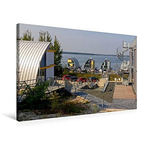 Calvendo Premium Textil-Leinwand 75 cm x 50 cm quer, Schwimmende Häuser auf dem Geierswalder See | Wandbild, Bild auf Keilrahmen, Fertigbild auf echter Seenland in der Lausitz Natur Natur
