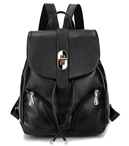 Tibes Art und Weise der kleinen ledernen backpack wasserdichten Rucksack für Mädchen / Damen Schwarz