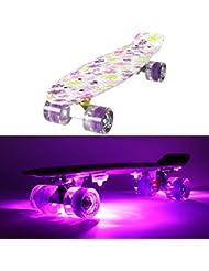 Monopatín MAKANIH® LED con ruedas luminosas, brillantes, Penny Style Longboard Street Cruiser iluminación + 5 luces adhesivas, Patrón De Flores