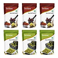 Suvidhi 3 Red Chilli Thecha & 3 Green Thecha 100g Each (Combo of 6)