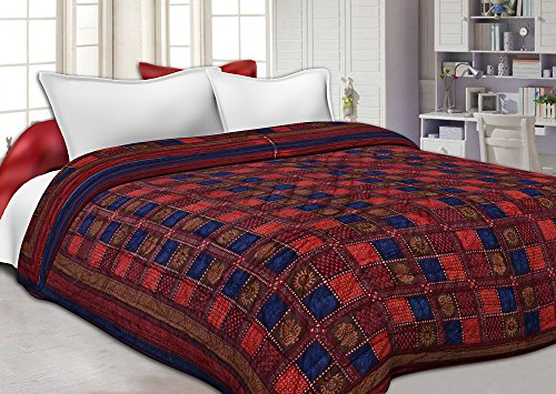 JaipurFabric Neavy Blue Border Multi Colour Check & Dabu Print Fine Cotton Double Bed Quilt