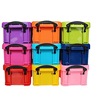 Lot de 9 Boîtes en Plastique Empilables avec Couvercles à Clip par Kurtzy - 9 Petites Caisses Multicolores - Rangement dans les Voitures, Bureaux et Cuisines - Très Résistantes pour une Bonne Organisation