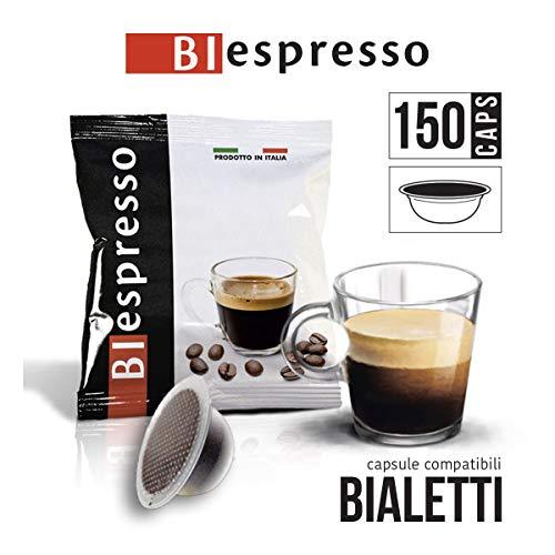 150 Bialetti capsule compatibili, caffè monouso, miscela INTENSO, confezione da 150 capsule, prodotto in Italia da Biespresso