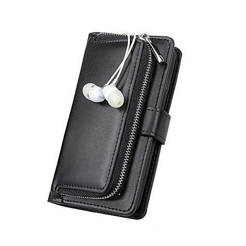 xhorizon TM organizer Prämie-PU Leder vn Geldbeutel des Griffs mit magnetischem und entfernbarem Geldbeutelskoffer, Steckplätze der Karte, und Reißverschluss Drehenskoffer von Pouch Folio, Decke für i schwarz