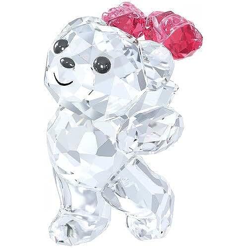figuras kawaii Swarovski 5063324Kris oso–Sag es con rosas Figura Cristal 3,9x 3,5x 2,6cm, transparente/rojo