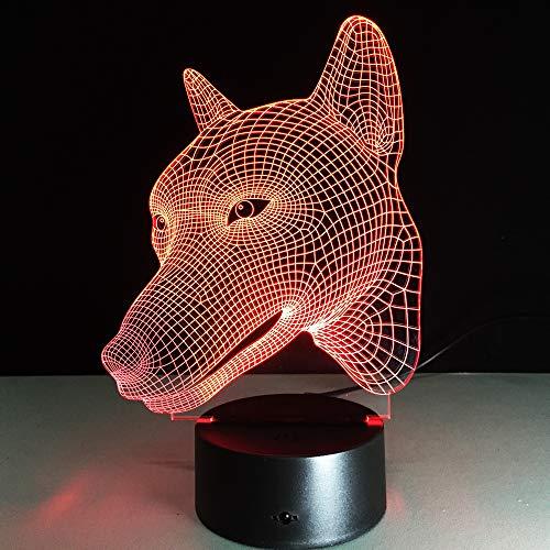 KangYD® Wolf Hund 3D Illusion Stimmung Licht, LED bunte Veränderung, Nachtlampe, Remote 7 Farbe (Crack White), (Großer Hunde Wolf Kostüm)