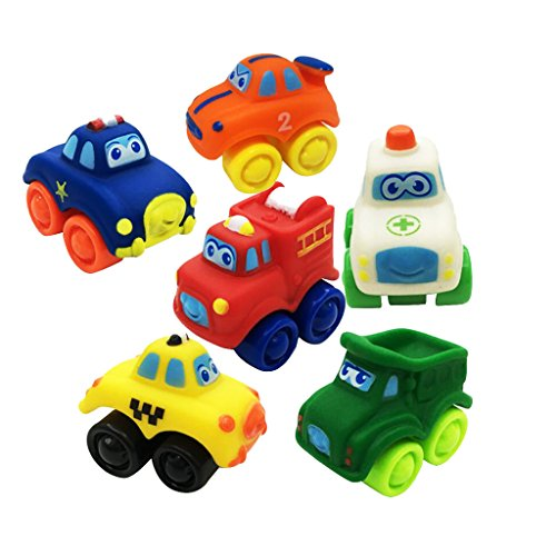 MagiDeal Rubber Plastic Mini Car Model Toy for Toddler Baby Kid Play Pack of 6 Pcs