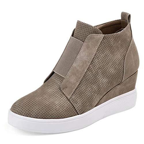 Plateau Sneaker Damen Wedges Hohe Keilabsatz High Leder Kurzschaft 4.5cm Chelsea Ankle Boots Reißverschluss Keil Schuhe Beige Rosa Blau Grau 34-43 KH38 -