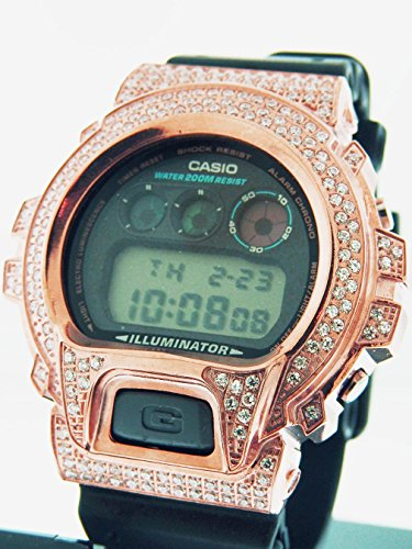 dcb819c2956 Men Casio G Shock High Quality Cz White Crystal Rose Gold Case Watch Black  Face