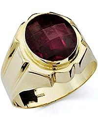 ee4ae4751f21 Sello oro 18k caballero piedra roja oval hueco  7504