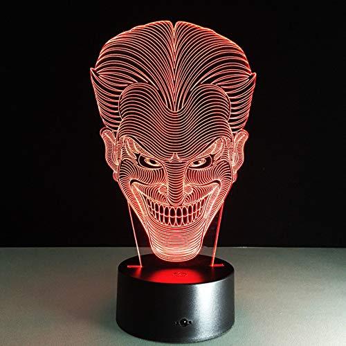 3d Nachtlicht Jack Smile Face 3D Nachtlicht Joker Tischlampe mit 7 Farben Änderung Effekt Beleuchtung Gratis Dropship schwarze Basis