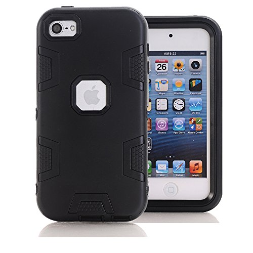 iPod Touch 6. Generation Fall, iPod Touch 6 Fall, Kamii 3 in1 Hybrid Combo Heavy Duty Defender Rugged stoßfest schmutzdicht Case Cover für Apple iPod Touch 6, Schwarz (3 Fällen Ipod Camo)