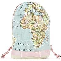 Zaino donna-Zainetto-Borsa in tela/disegno e modello esclusivo fatte a mano da El Taller de Mis Nubes/Mappa del mondo saco rosa/regalo donna-regali per lei-regali mamma